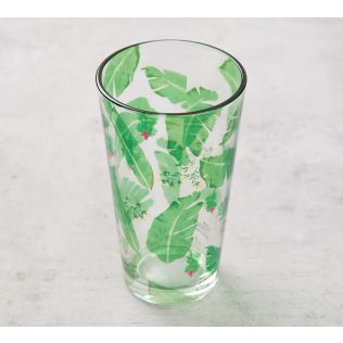 India Circus Banana Leaves Glass Tumbler