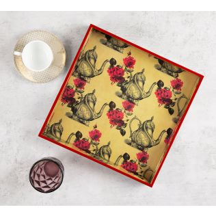India Circus Beige Mystic Rose Kettles Square Tray