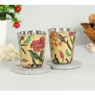 India Circus Bird Land Small Steel Tumbler (Set of 2)