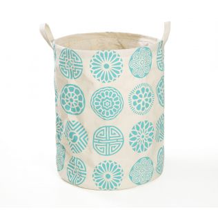 India Circus Blue Chakra Motifs Round Laundry Basket