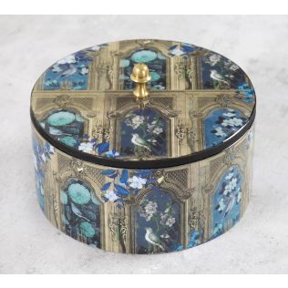 India Circus Blue Departed Memoirs Round Storage Box