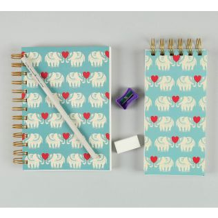 India Circus Blue Heart Tusker Stationery Combo Set