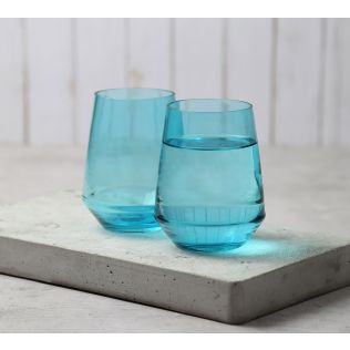 India Circus Blue Round Bottom Drinking Glass (Set of 2)