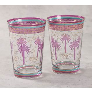 India Circus Blushed Palmeria Glass Tumbler Set of 2