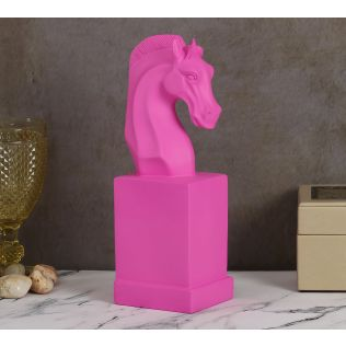 India Circus Bright Pink Horse Head Figurine