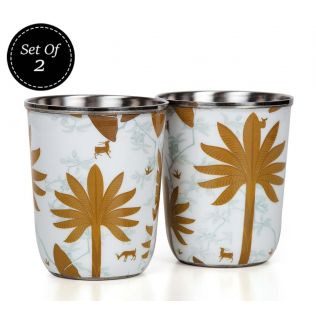 India Circus Brooding Woodlot Steel Tumblers Set of 2