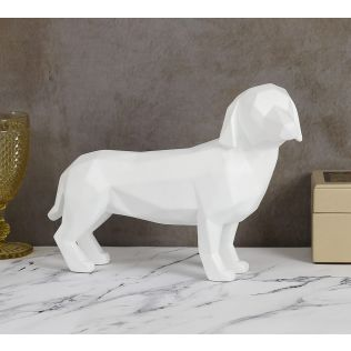 India Circus Chalk White Dachshund Figurine