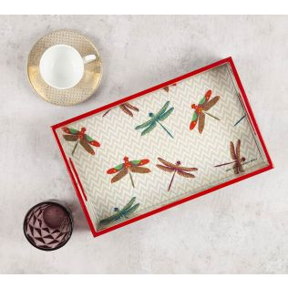 India Circus Chevron Butterflies Rectangle Serving Tray