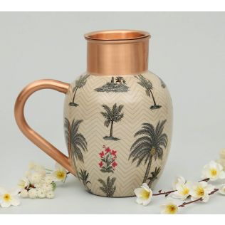 India Circus Chevron Palms Copper Jug