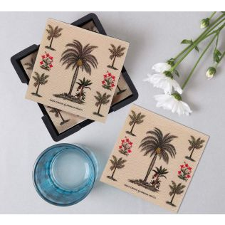 India Circus Chevron Palms MDF Table Coaster Set of 6