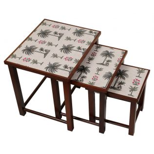 India Circus Chevron Palms Nested Table
