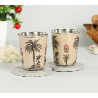 India Circus Chevron Palms Small Steel Tumbler (Set of 2)