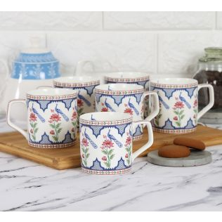India Circus Chevron Perching Peacock Mug Set of 6