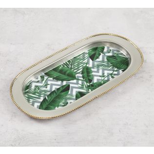 India Circus Chevron Tropical Leaves Steel Serving Tray