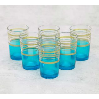 India Circus Circle of Life Blue Moroccan Glasses Set of 6