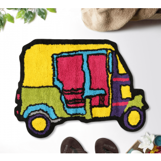 India Circus City Rickshaw Shape Bath Mat