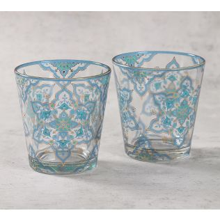 India Circus Classic Floral Star Glass Tumbler Set of 2