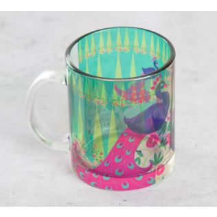 India Circus Conifer and Peacock Illusion Glass Coffee Mug