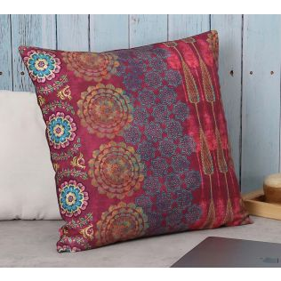 India Circus Conifer Rangoli Canvas Cushion Cover