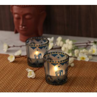 India Circus Earthy Symmetry Tea Light Holder Set of 2