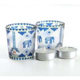 India Circus Earthy Symmetry Tea Light Holder Set of 2