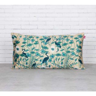 India Circus Egrets Botanical Treat Blended Velvet Cushion Cover