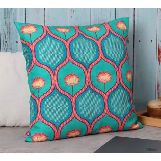 India Circus Entangled Lotus Canvas Cushion Cover