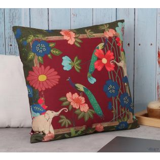 India Circus Fauna Darbar Canvas Cushion Cover