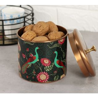 India Circus Feathers & florals Storage Jar
