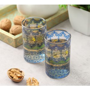 India Circus Flight of Birds Small Glass Tumbler (Set of 2)