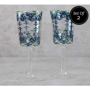 India Circus Flight of Birds Wine Glasses Set of 2