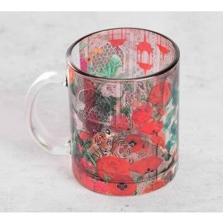 India Circus Floral Burst Glass Coffee Mug