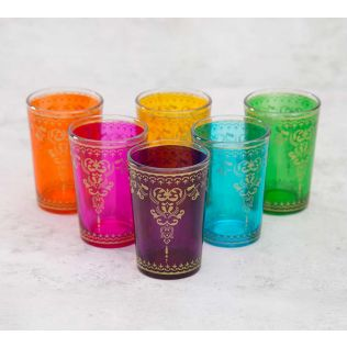 India Circus Floral Constitution Moroccan Glasses Set of 6