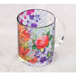 India Circus Floral Cup Illusion Glass Mug