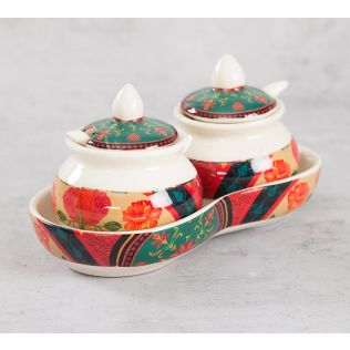 India Circus Floral Embroidery Ceramic Pickle Jar