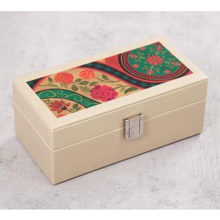 India Circus Floral Embroidery Leather Watch Box