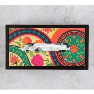 India Circus Floral Embroidery MDF Tissue Box Holder