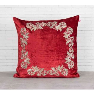 India Circus Floral Enigma Crimson Embroidered Velvet Cushion Cover