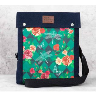 India Circus Floral Flutter Sling Denim Backpack
