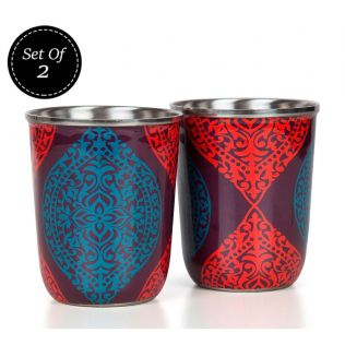India Circus Floral Hourglass Steel Tumblers Set of 2