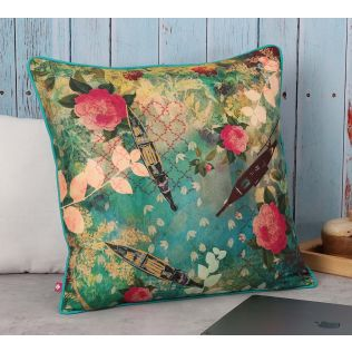 India Circus Floral Lake Inception Polyester Cushion Cover