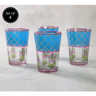 India Circus Floral Lattice Chai Glass (Set of 4)