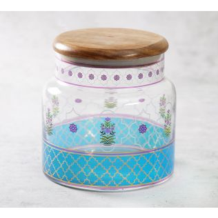 India Circus Floral Lattice Glass Jar