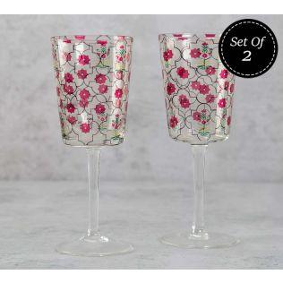 India Circus Floral Lattice Wine Glasses Set of 2