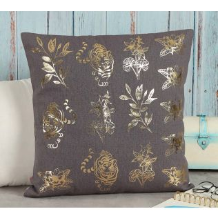 India Circus Floral Sketch Foil Cushion Cover