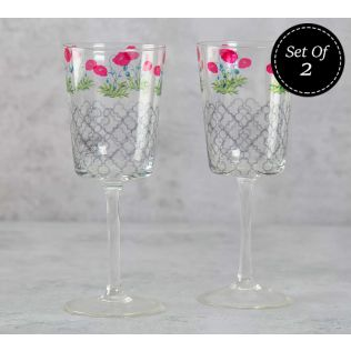 India Circus Floral Twinkles Wine Glasses Set of 2