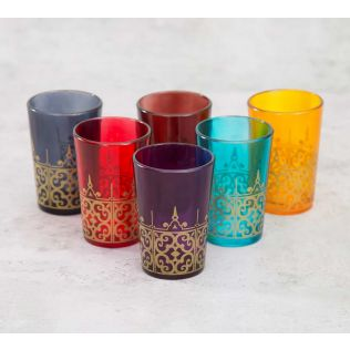India Circus Flower Formation Moroccan Glasses Set of 6