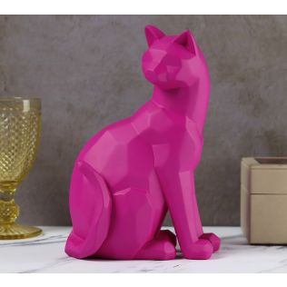 India Circus Fuchsia Cat Figurine