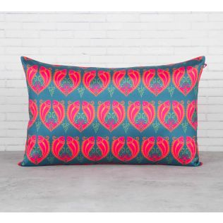 India Circus Fuchsia Fish Romance Blended Taf Silk Cushion Cover