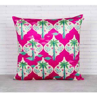 India Circus Fuchsia Palmira Blended Velvet Cushion Cover
